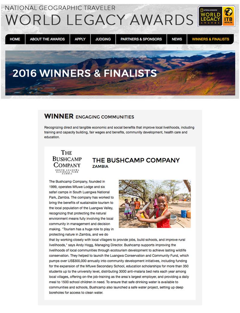 Bushcamp Company Award
