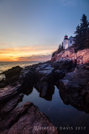 SUNSET AT BAR HARBOR LIGHTHOUSE, MOUNT DESERT ISLAND, MAINE