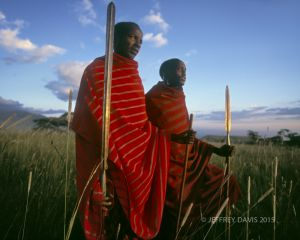 MAASAI WARRIORS AT SUNSET, NGORONGORO CRATER, TANZANIA, AFRICA