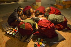 PAINTING SAND MANDALA, CENTRAL TIBET