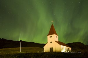 NIGHT SONG, NORTHERN LIGHTS, VIK CHURCH, ICELAND