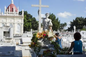 PRAYER TO THE SAINT, COLON CEMETERY, HAVANA, CUBA