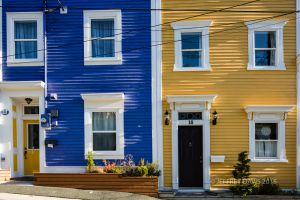 BLUE AND GOLD, JELLY BEAN ROW, ST. JOHN'S, NEWFOUNDLAND, CANADA