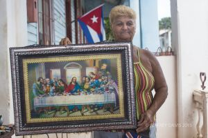 MIREYA, STREET SALESWOMAN, SELLING THE LAST SUPPER, RODAS, CUBA