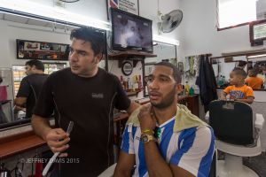 ROBERTICO, ALEJANDRO, AND HALEY, A DAY AT THE BARBER SHOP, HAVANA, CUBA