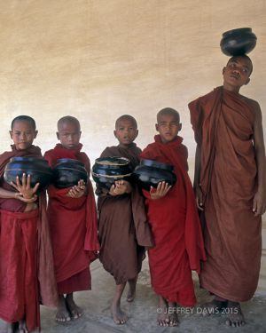 MONKS AT PLAY, CENTRAL MYANMAR (BURMA), 2001, SERIES C