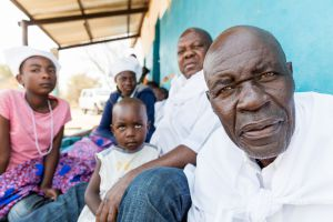 VILLAGE HEADMAN AND HIS FAMILY, MANDIA, ZAMBIA