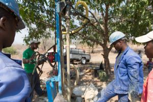 DRILLING A BORE HOLE FOR FRESH WATER, LWISHA VILLAGE, MFUWE, ZAMBIA